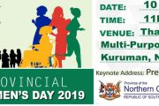Northern Cape Province to Commemorate the 2019 Provincial Women's Day in Kuruman in the JTG District.